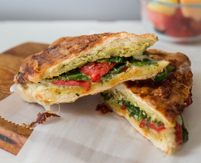 close up of Mozzarella, Pesto, and Roasted Red Pepper Panini from the ACS cookbook, What to Eat During Cancer Treatment 2nd edition