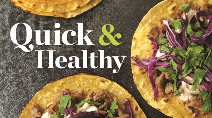 "portion of the cover of the ACS cookbook, ""Quick and Healthy: 50 Simple Delicious Recipes for Every Day"""